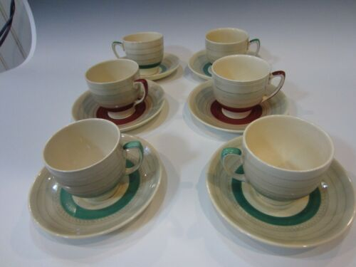 6 Vintage Susie Cooper deco Coffee/expesso cups and saucers England