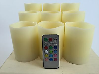 """Set of 9 Flameless Mulit-colored  """"Flame"""" Ivory Pillar Candles w/Remote"""