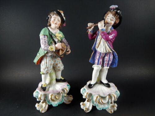 Two Antique 19th Century Samson or Derby Porcelain Figures of Musicians