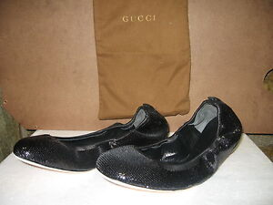 Gucci-Ballet-Flats-Black-Sequined-Leather-Ballerina