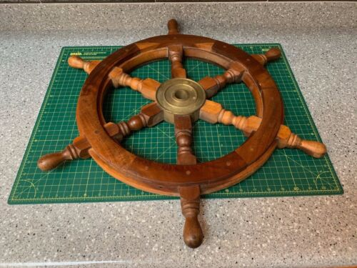 "VINTAGE 24"" Wood Brass Ship Wheel Large Wooden Helm Nautical Maritime Wall Decor"