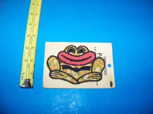 Frog with Big Lips  Vintage Embroidered Patch 1980