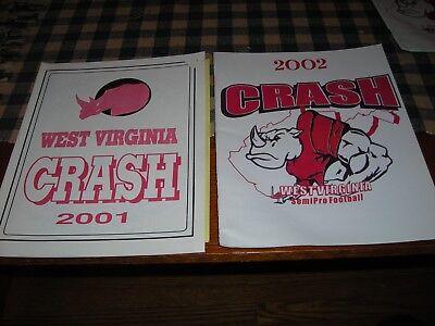 2001-02 West Virginia Crash Semi Pro Football lot, 2 game programs+ ex