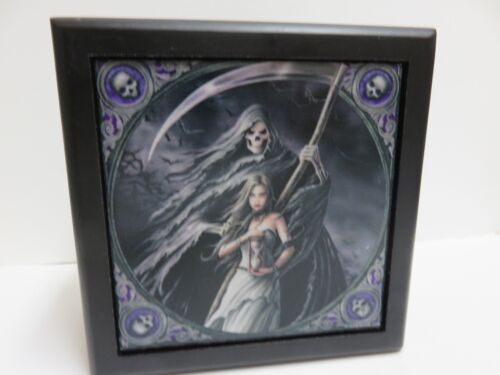 """Anne Stokes Collection Tile Wooden Box """"Summon the Reaper"""" Black/Lined. New"""