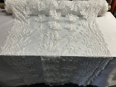 """White Beaded Fabric By The Yard Embroidery Beads Fabric Lace Wedding Dress 50"""" for sale  Shipping to Canada"""