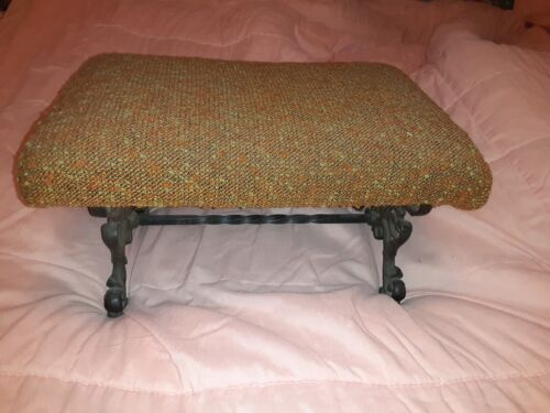 Antique CAST IRON FOOTSTOOL Bench ORNATE Torchere Flame Fabric 16 X 9  Old