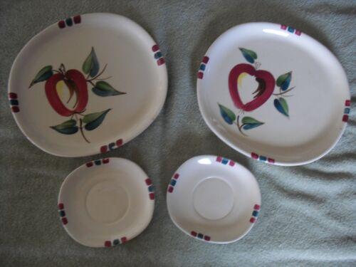 2 Vtg Puritan Slip Ware Hand-painted Apple-Salad-Luncheon Plates & 2 Saucers