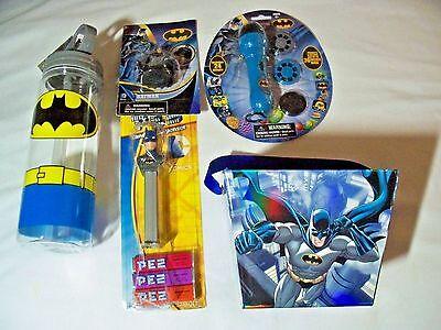 Batman Lot with Water Bottle + Pez + Pencil Topper + Projector Set + Gift Pail