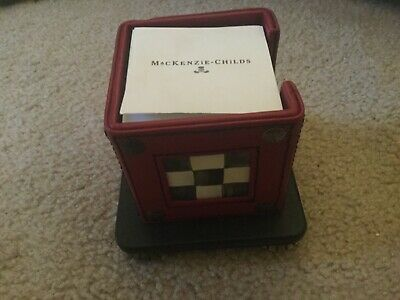 Mackenzie Childs Courtly Check Red Leather Note Pad Holder With Sticky Notes
