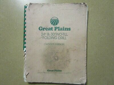 Great Plains 24 30 No Till Folding Drill Owners Parts Maintenance Manual