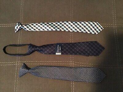 NAUTICA Boys' Navy Zipper Tie BNWT Plus 2 Clip On Ties