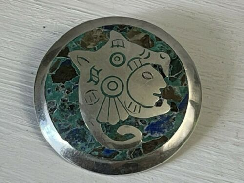Vintage Sterling Silver YR Taxco Mexico Mayan God Brooch Pin Pendant Turquoise B