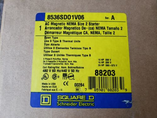 Square D By Schneider Electric 8536SDO1V06 Ser. A Magnetic Motor New in Box