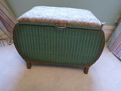 Vintage Green/Gold Lloyd Loom Style Stool-Seat / Storage Box
