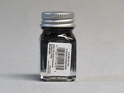 TESTORS PAINT GLOSSY BLACK ENAMEL 1/4oz JAR 7.4ml plastic model car 1147 NEW