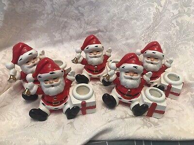 Vintage Topline Brand Old Japan Santa Claus Candlestick Holders Set Of 5