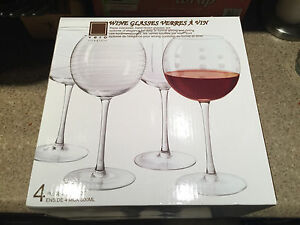 Oversize wine glasses x4