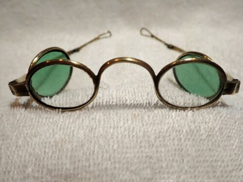 """RARE 1850 GERMAN DOUBLE BRASS EYEGLASSES """"PFAU""""  (ARTICULATED TEMPLES & LOOPS)"""