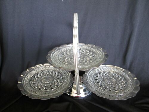 "THREE TIERED SILVER CLAM SERVER Anchor Hocking Clear WEXFORD Pattern 6"" Plates"