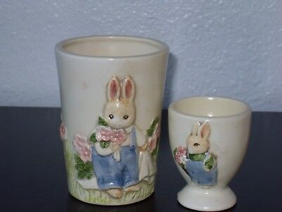 Peter Rabbit Bunny Rabbit & Pink Kitty Egg Cup & Drinking Cup or Vase Set Pink Egg Cup Set