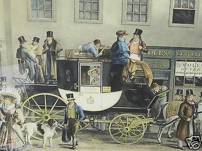 Coloured Engraving of 1831The Blenheim leaving The Star Hotel Oxford by J.Havell