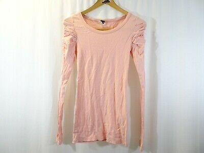 WE THE FREE PEOPLE Light Peach Long Sleeve T-Shirt Ruched Sleeves Size S Casual