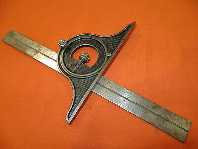 Antique Ls Starrett Bevel Protractor Combination Square Aug 7 1883 Patent 1756