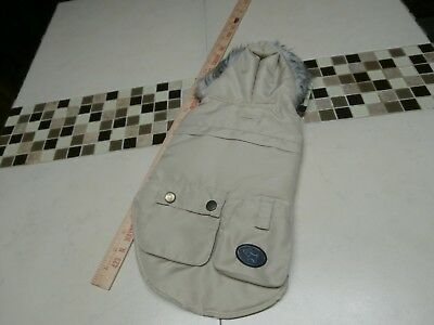 !Pet Dog Cat COAT satin lined Apparel Hoodie Puppy Clothes tan khaki