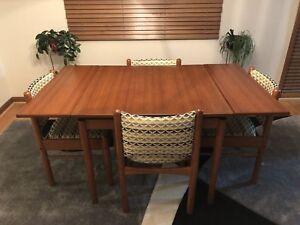 Mid century modern vintage teak table and chairs