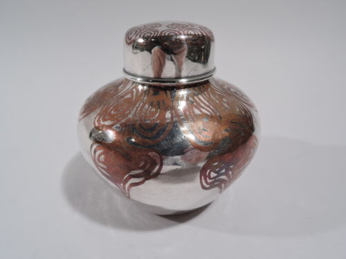 Tiffany Tea Caddy - 11975 - Ginger Jar - American Mixed Metal Silver & Copper