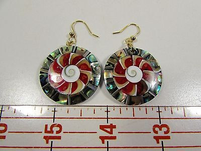 Lee Sands Shell Inlaid Paua Shell Circle W Shiva Shell & Coral Earrings