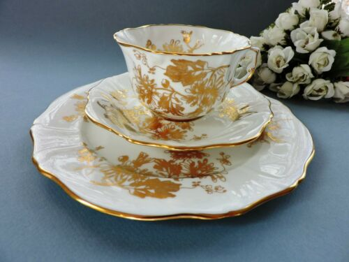 Hammersley  English White & Gold cabinet  Cup, Saucer & Plate