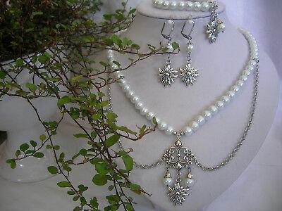 Trachtenschmuck-Set Halskette 2-reihig Perlen + Bogenketten weiß antiksilber
