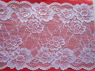White Border Trim ( Elegant White elastic Lace Trim 19cm wide Border great offer #53 ENg)