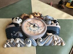 """VINTAGE NOAH'S ARK WALL CLOCK -TWO BY TWO - HOME INTERIORS 13""""x11"""" New Haven"""