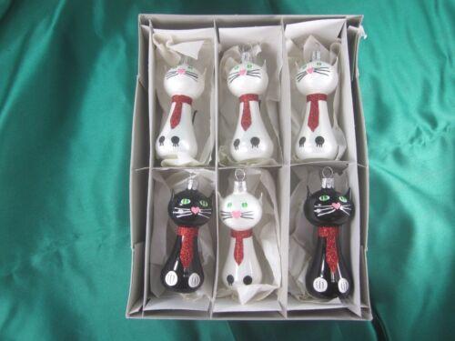 "6 WHITE & BLACK CAT 4"" HANDBLOWN CZECH GLASS CHRISTMAS ORNAMENTS"