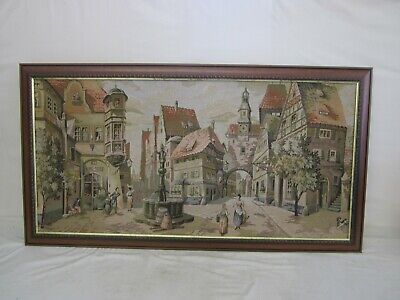 Vintage Large French Beautiful Anno 1302 Scene Tapestry Framed - 123 cm by 60cm
