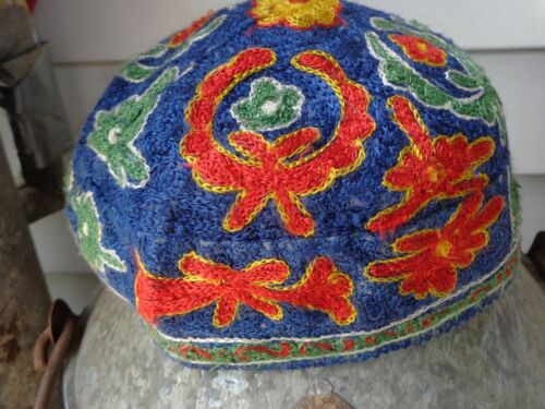 Vintage Embroidered Cap, beanie-style.  Blue with green, red, & yellow