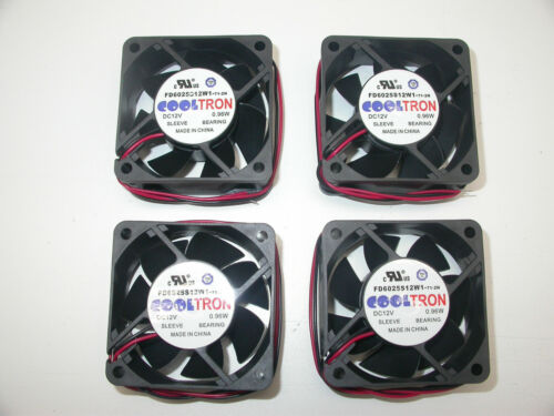 Lot of 4 New Cooltron Cooling Fan 12VDC 60mm 2-Wire No Connector. Read Specs