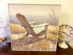 Framed Print - Adirondack Chair on the Beach