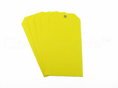 100 Yellow Plastic Tags - 4.75 X 2.375 - Tearproof - Inventory Id Price Tags
