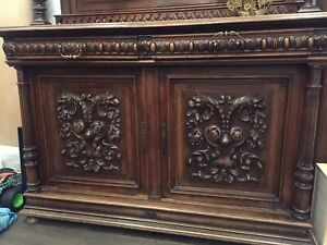 Antique natural oak cabinet