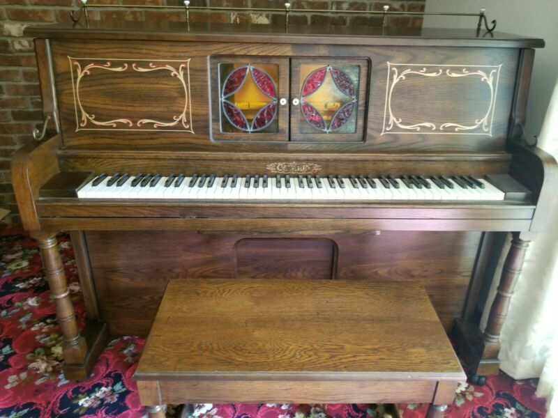 Carbaret Medium Brown wood  Player Piano With Bench 1980s Upright