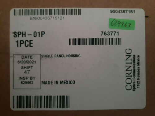 NEW CORNING SPH-01P SINGLE PANEL HOUSING WALL MOUNTABLE FIBER OPTIC CCH PANELS