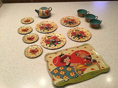 Vintage Ohio Art Tin Litho Tea Set Rare Find Queen Of Hearts Benjamin 13 Pieces Heart Tin Tea Set