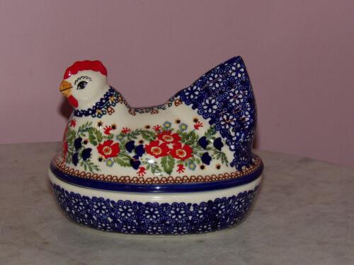 Polish Pottery Chicken Box! UNIKAT Signature Exclusive Zoey Pattern!