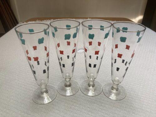 Vintage Mid Century Federal Pilsner Glasses Fantasia Turquoise Red Black Squares