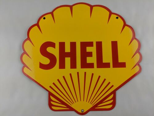 VINTAGE SHELL MOTOR OIL DIE CUT 13.50 X 12.90 PORCELAIN METAL GASOLINE SIGN PUMP