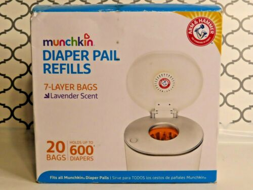 Munchkin Arm & Hammer Diaper Pail Refill Bags 20 Count Lavender Scent NEW! (C7)