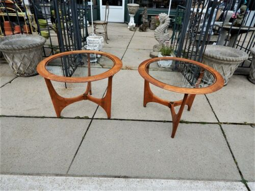 PR.OF MID CENTURY MODERN ROUND  GLASS TOP SIDE TABLES ADRIAN PEARSALL